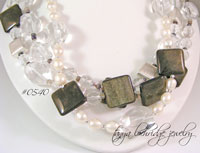 Golden Obsidian, Crystal Quartz Gemstone & Freshwater Pearl Necklace