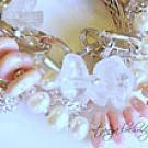 Rhodochrosite, Rough Crystal Quartz Gemstone & Pearl Three-Strand Bracelet