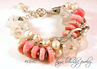 Rhodochrosite, Rough Crystal Quartz Gemstone & Pearl Three-Strand Bracelet