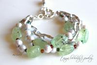 Prehnite & Pearl Three-Strand Bracelet-prehnite,pearl,crystal quartz,gemstone,bracelet,bead,green,pantone,miriam haskell,lulu frost,j crew,anthropologie,sundance,jewelry,