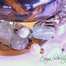 Prehnite & Pearl Gemstone Three-Strand Bracelet