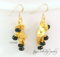 Florentine Gold & Czech Glass Jet Drop Earrings