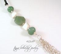 Green Aventurine Gemstone & Silver Tassel Gemstone Necklace