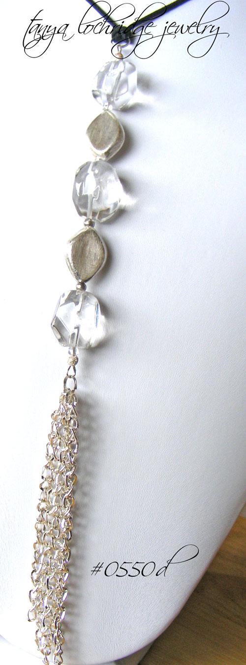 Crystal Quartz Gemstone & Silver Tassel Gemstone Necklace