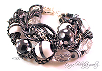 Black & White Resin Bead & Crystal Quartz Gemstone Bracelet