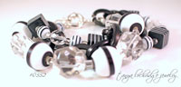 Black & White Resin Bead & Crystal Quartz Bracelet
