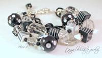 Black & White Resin Bead & Crystal Quartz Bracelet-bead,black,white,iris,apfel,resin,lizzie.fortunato,dice,chain,black,boho,gypsy,link,bracelet,jewelry,miriam haskell,j crew,lulu frost,resin,