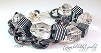 Black & White, Crystal Quartz Gemstone & Bold Link Bracelet