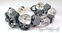 Black & White, Crystal Quartz Gemstone & Bold Link Bracelet