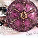 Vintage Czech Glass Button & Faceted Bead Five-Strand Bracelet