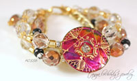 Vintage Czech Glass Button & Faceted Bead Five-Strand Bracelet