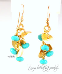 Florentine Gold Vermeil & Turquoise Czech Glass Drop Earrings